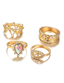 Fashion Gold Color Water Drop Shape Decorated Ring ( 4 Pcs )