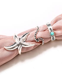 Fashion Silver Color Starfish Shape Decorated Ring (3 Pcs )