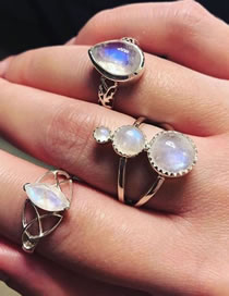 Fashion Silver Color Water Drop Shape Decorated Ring (3 Pcs )