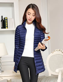 Fashion Navy Pure Color Decorated Down Jacket