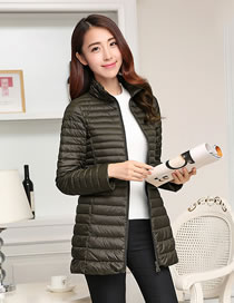 Fashion Olive Green Pure Color Decorated Down Jacket