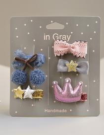 Fashion Gray Cherry&star Shape Decorated Hair Clip (5 Pcs )