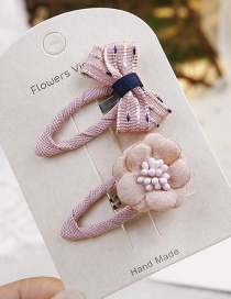 Fashion Pink Flower&bowknot Shape Decorated Hair Clip