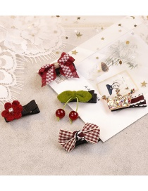 Fashion Red Cherry&bowknot Shape Decorated Hair Clip (5 Pcs )