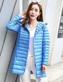 Fashion Blue Pure Color Decorated Down Jacket