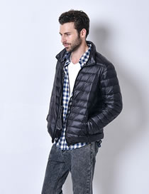 Fashion Black Pure Color Decorated Down Jacket