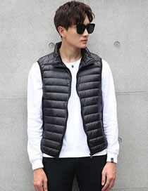 Fashion Black Pure Color Decorated Down Vest