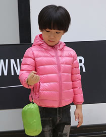 Fashion Pink Pure Color Decorated Down Jacket