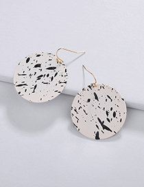 Fashion Black+white Color Matching Design Round Shape Earrings