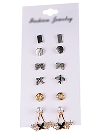 Fashion Silver Color Dolphin&pearls Decorated Earrings(12pcs)