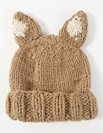 Lovely Khaki Ears Shape Design Knitted Hat
