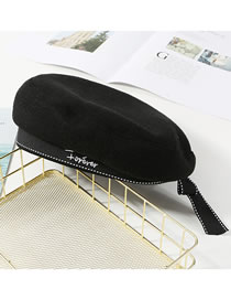 Fashion Black Bowknot Decorated Embroidered Hat