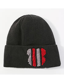 Fashion Black+red Color Matching Decorated Thickened Hat
