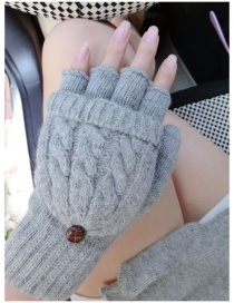 Fashion Gray Pure Color Decorated Gloves