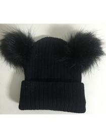 Fashion Black Pom Ball Decorated Pure Color Hat