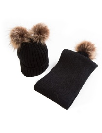 Fashion Black Pom Ball Decorated Pure Color Hat&gloves (2 Pcs )