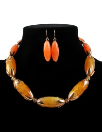 Fashion Yellow+orange Oval Shape Design Color Matching Jewelry Sets