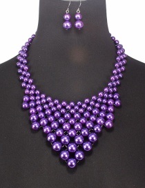 Fashion Purple Pearls Decorated Pure Color Jewelry Sets
