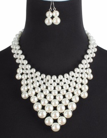 Fashion White Pearls Decorated Pure Color Jewelry Sets