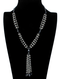 Fashion Gray Tassel Decorated Long Necklace