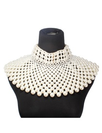 Fashion White Pearls Decorated Hand-woven Necklace