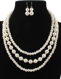 Fashion Beige Pearls Design Multi-layer Jewelry Sets