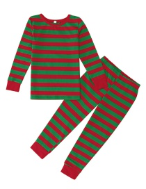 Fashion Red+green Stripe Pattern Design Household Clothes For Child