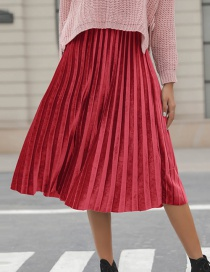 Fashion Red Pure Color Decorated Simple Skirt