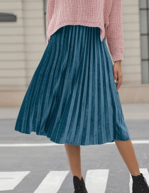 Fashion Blue+green Pure Color Decorated Simple Skirt