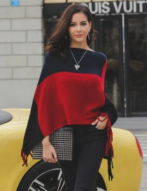 Fashion Red+navy Tassel Decorated Color Matching Sweater