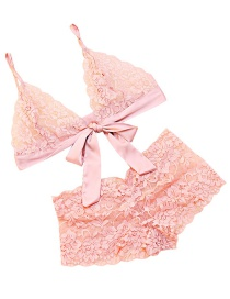 Fashion Pink Bowknnot Decorated Pure Color Bra Suits