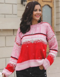 Fashion Red Snowflake Decorated Long Sleeves Sweater