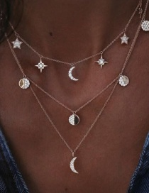 Fashion Gold Color Moon Decorated Multi-layer Necklace