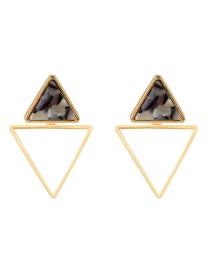 Fashion White+black Double Triangle Shape Design Earrings