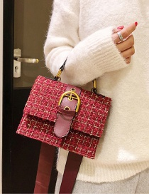 Fashion Red Buckle Decorated Square Shape Bag