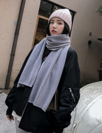 Fashion Gray Pure Color Decorated Scarf