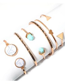 Fashion Gold Color Geometric Shape Decorated Bracelets(6pcs)
