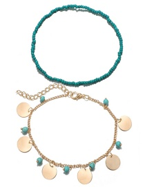 Fashion Gold Color Round Shape Decorated Anklet(2pcs)