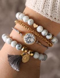 Fashion White Tassel Decorated Bracelets(4pcs)