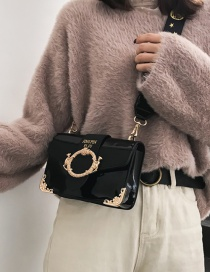 Fashion Coffee Buckle Decorated Shoulder Bag