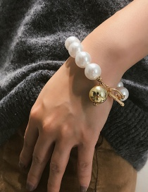 Fashion Gold Color Pearl Decorated Pure Color Bracelet