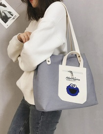 Fashion Light Gray Letter Pattern Decorated Shoulder Bag