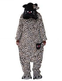 Fashion Brown Leopard Pattern Decorated Pajamas