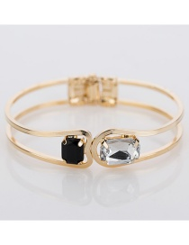 Fashion Gold Color Diamond Decorated Double Layer Bracelet