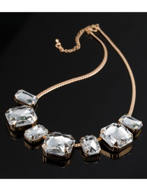Fashion Silver Color Square Shape Diamond Decorated Choker