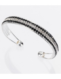 Fashion Silver Color+black Diamond Decorated Opening Bracelet
