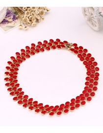 Fashion Red Beads Decorated Pure Color Choker