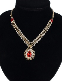 Fashion Red Gemstone Decorated Simple Necklace