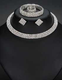 Fashion White Diamond Decorated Pure Color Jewelry Sets