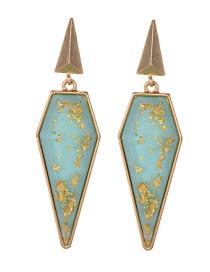 Fashion Blue Geometric Shape Design Long Earrings